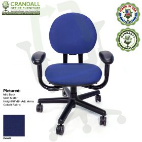 Crandall Office Furniture Remanufactured Steelcase Criterion Chair with 12 Year Warranty - 10 - Cobalt Fabric