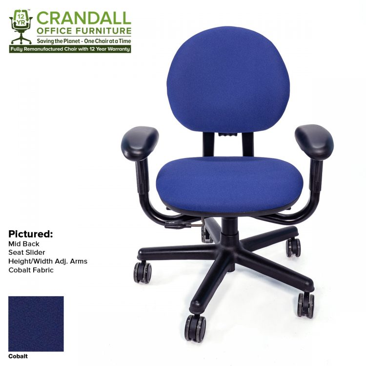 Crandall Office Furniture Remanufactured Steelcase 453 Criterion Office Chair with 12 Year Warranty Color - Cobalt
