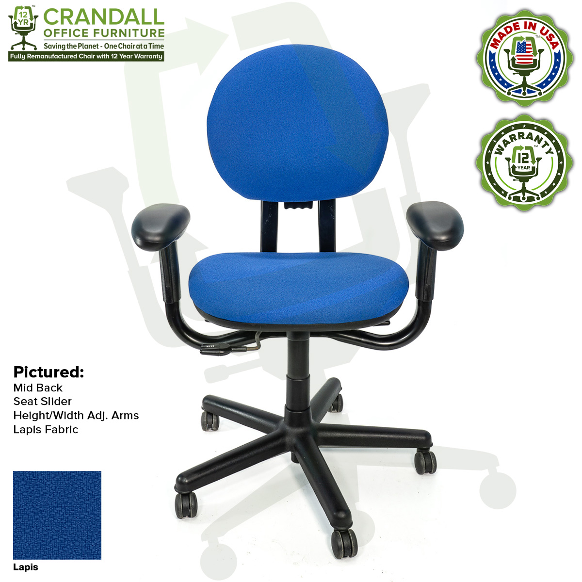 Crandall Office Furniture Remanufactured Steelcase Criterion Chair with 12 Year Warranty - 11 - Lapis Fabric