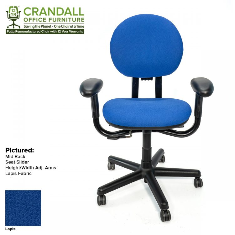 Crandall Office Furniture Remanufactured Steelcase 453 Criterion Office Chair with 12 Year Warranty Color - Lapis