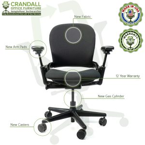 Crandall Office Furniture Remanufactured Steelcase V1 Leap Chair with 12 Year Warranty - 09