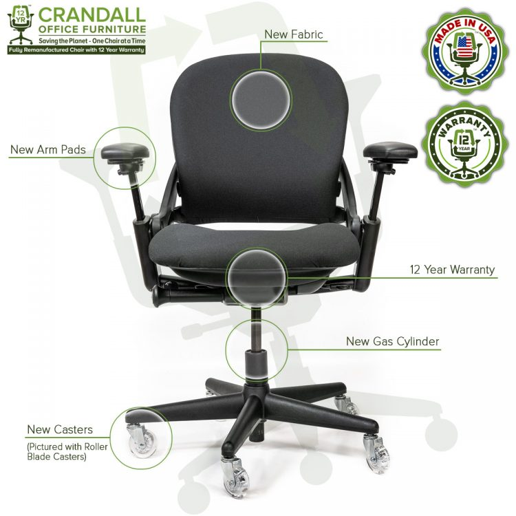 Crandall Office Furniture Remanufactured Steelcase V1 Leap Chair with 12 Year Warranty - Arch Back - 06