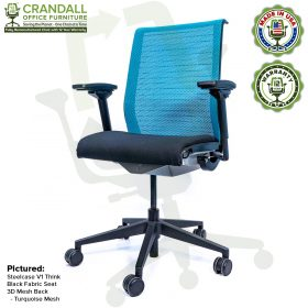 Crandall Office Furniture Remanufactured Steelcase Think Chair with 12 Year Warranty - Mesh - Turquoise