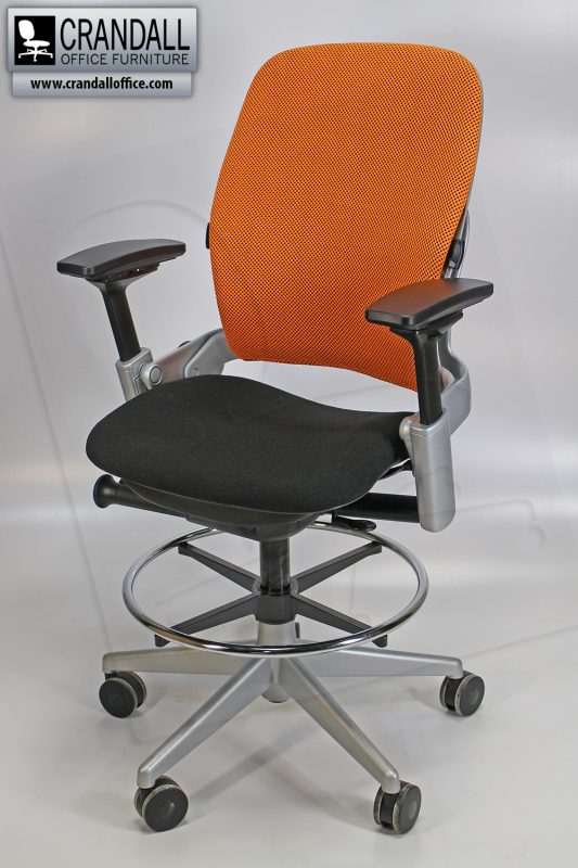 Crandall Office Furniture Remanufactured Steelcase 465 V2 Leap Chair - Orange 3D Mesh