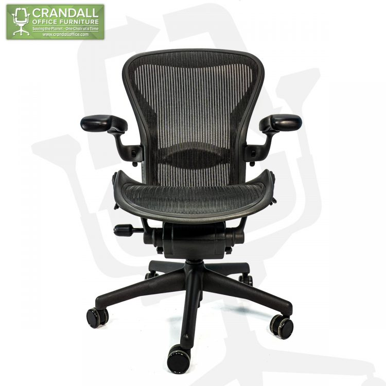 Crandall Office Refurbished Herman Miller Aeron Chair Black Frame and Mesh 3D01 Size B 0001