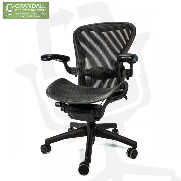 Crandall Office Refurbished Herman Miller Aeron Chair Black Frame and Mesh 3D01 Size B 0002