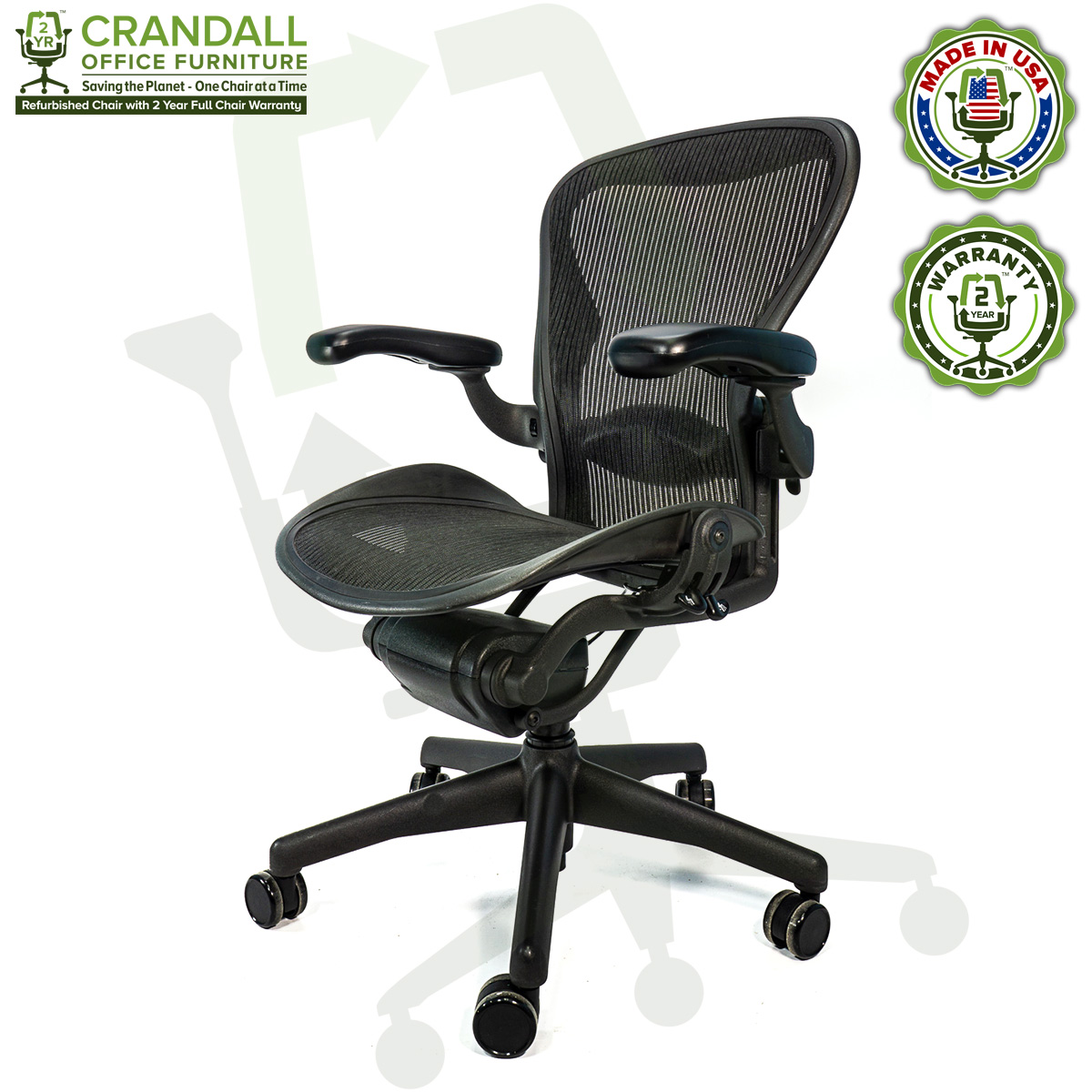 Crandall Office Furniture Refurbished Herman Miller Aeron Chair with 2 Year Warranty - 03