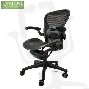 Crandall Office Refurbished Herman Miller Aeron Chair Black Frame and Mesh 3D01 Size B 0003