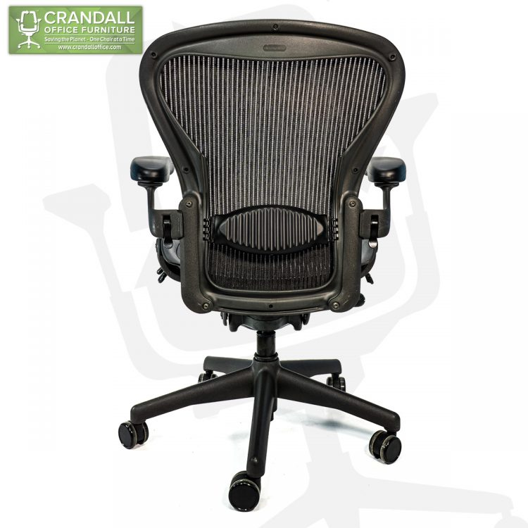 Crandall Office Refurbished Herman Miller Aeron Chair Black Frame and Mesh 3D01 Size B 0006