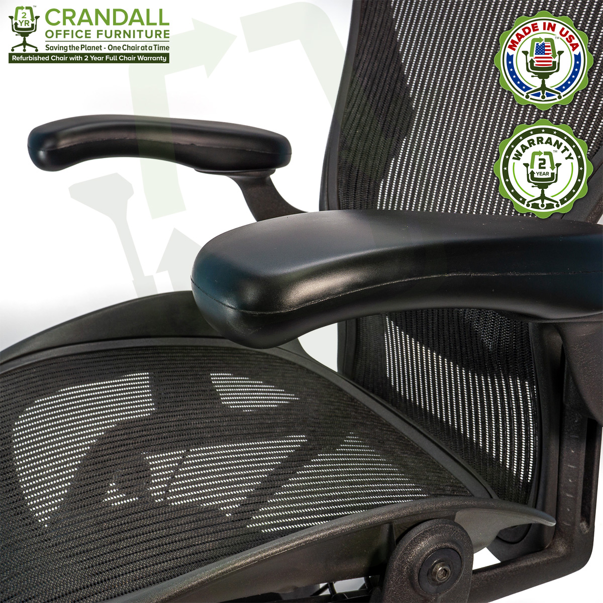Crandall Office Furniture Refurbished Herman Miller Aeron Chair with 2 Year Warranty - 10