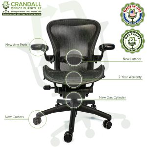 Crandall Office Furniture Refurbished Herman Miller Aeron Chair with 2 Year Warranty - 11