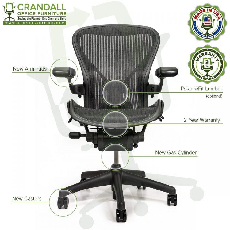 Crandall Office Refurbished Herman Miller Aeron Chair with PostureFit - Size B - 0006