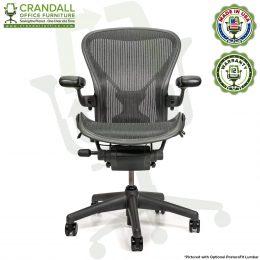 Crandall Office Refurbished Herman Miller Aeron Chair with PostureFit Lumbar - Size B - 12 Year Warranty - 0001