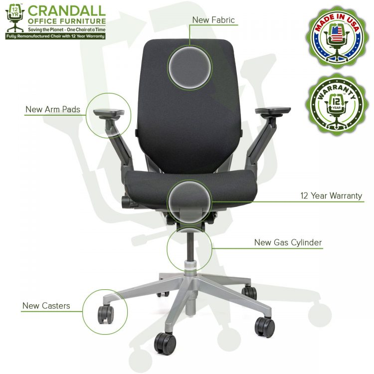 Crandall Remanufactured Steelcase Gesture Chair with Labels