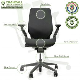 Crandall Office Furniture Remanufactured Steelcase Gesture Office Chair Platinum/Merle Frame 06