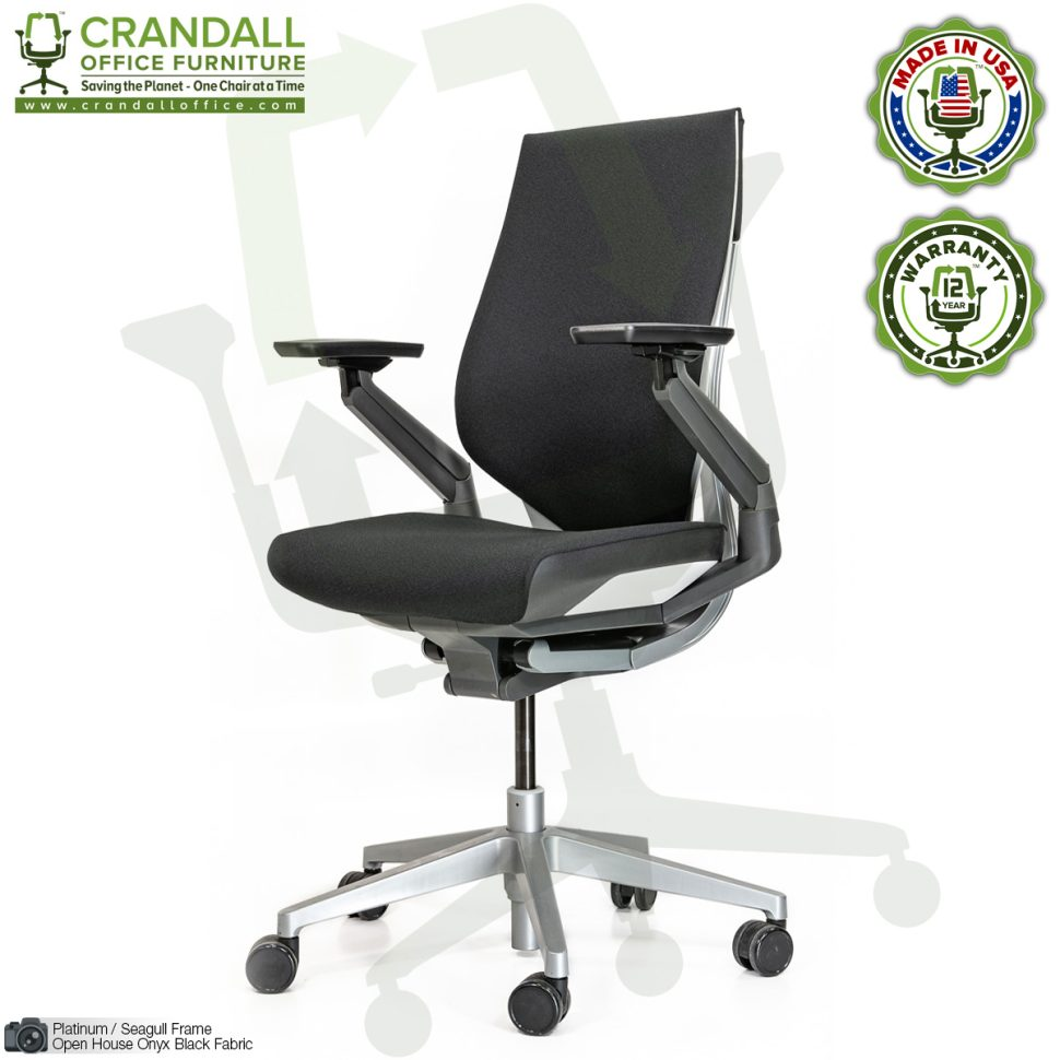 Crandall Remanufactured Steelcase 442 Gesture Chair with Wrap Back and Platinum / Seagull Frame 02