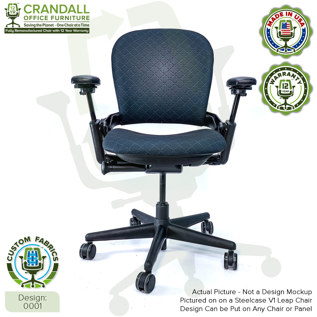 Custom Fabric Remanufactured Steelcase V1 Leap Chair - Design 0001