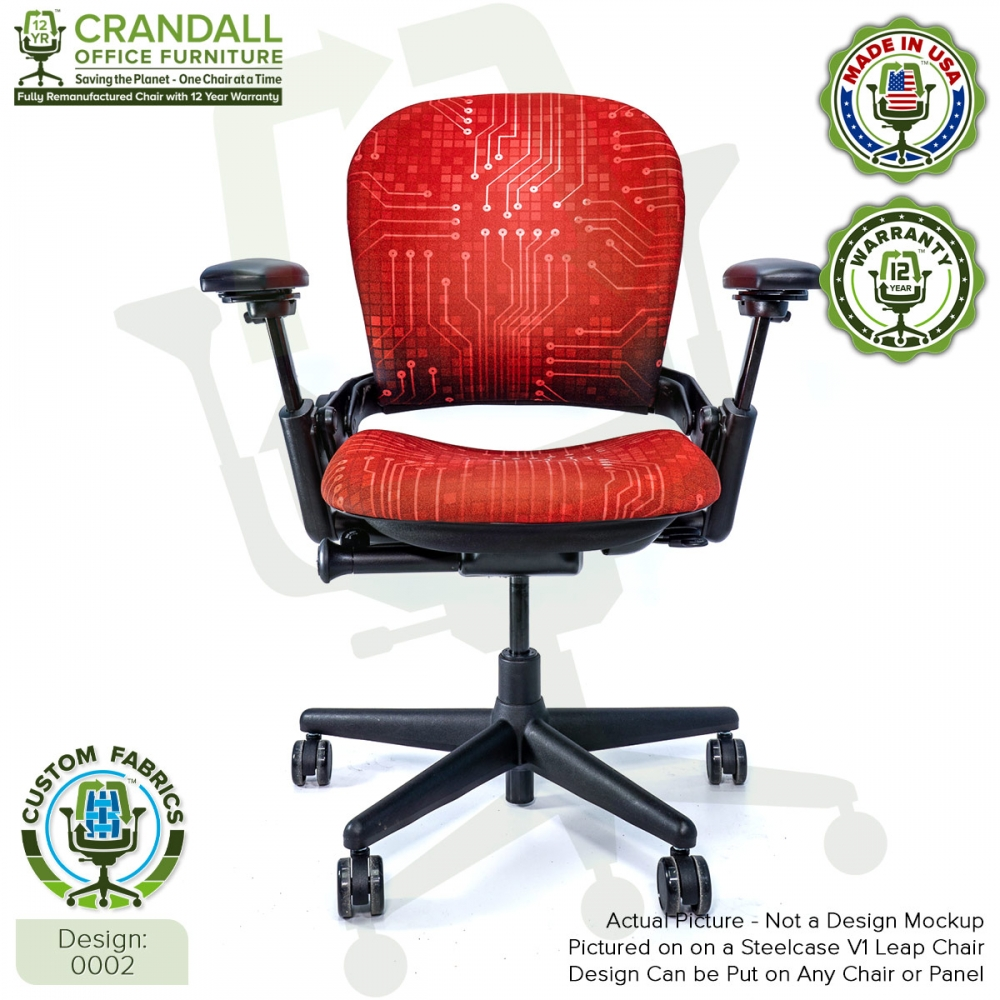 Custom Fabric Remanufactured Steelcase V1 Leap Chair - Design 0002