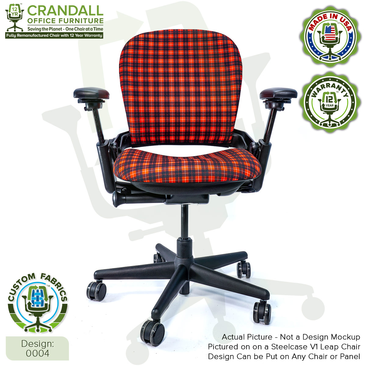 Custom Fabric Remanufactured Steelcase V1 Leap Chair - Design 0004