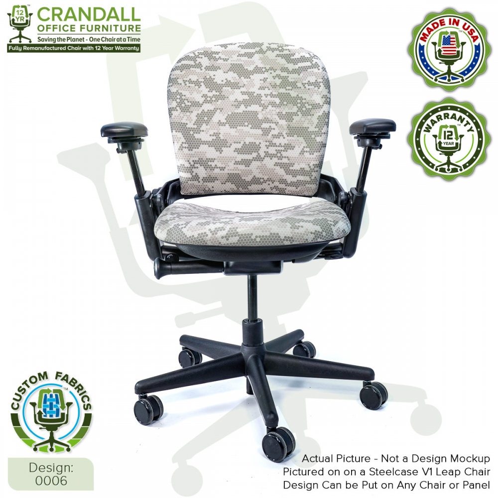 Custom Fabric Remanufactured Steelcase V1 Leap Chair - Design 0006