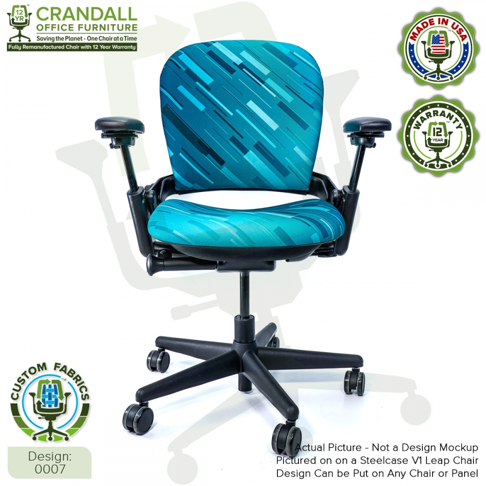 Custom Fabric Remanufactured Steelcase V1 Leap Chair - Design 0007