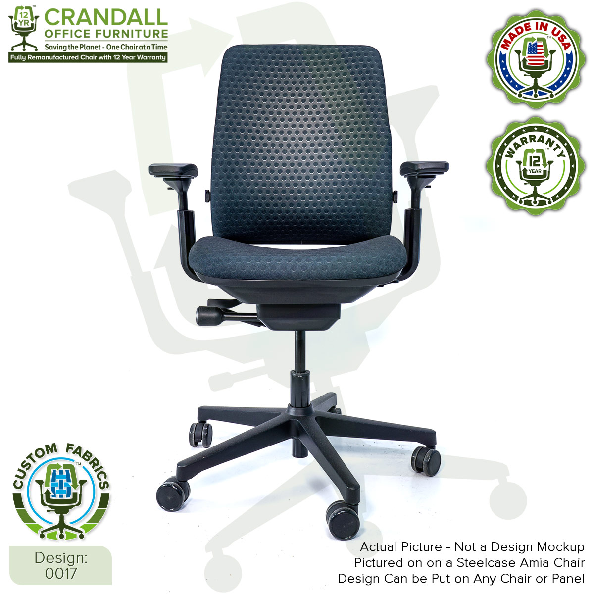 Custom Fabric Remanufactured Steelcase Amia Chair - Design 0017