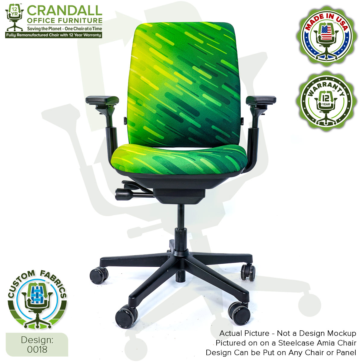 Custom Fabric Remanufactured Steelcase Amia Chair - Design 0018