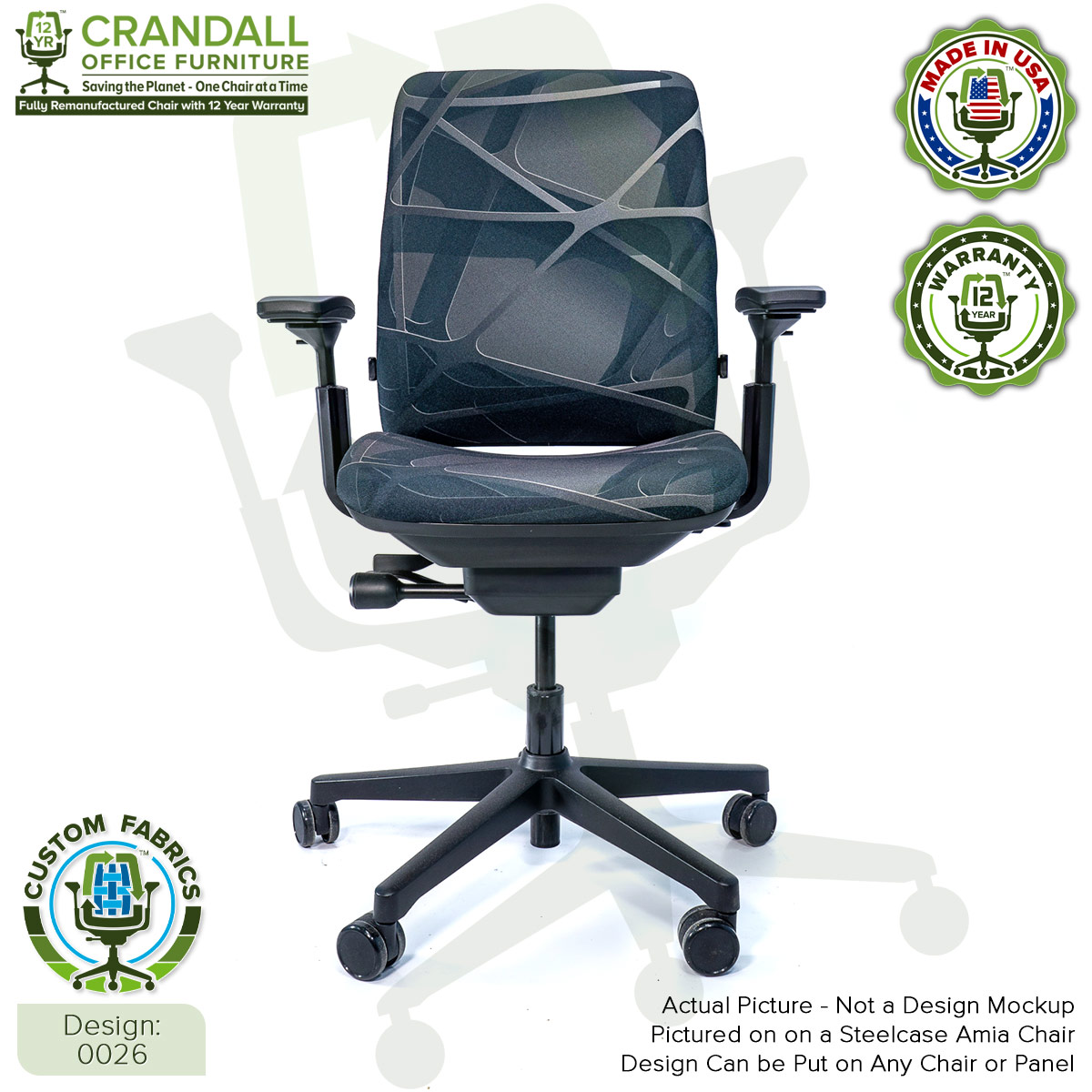 Custom Fabric Remanufactured Steelcase Amia Chair - Design 0026