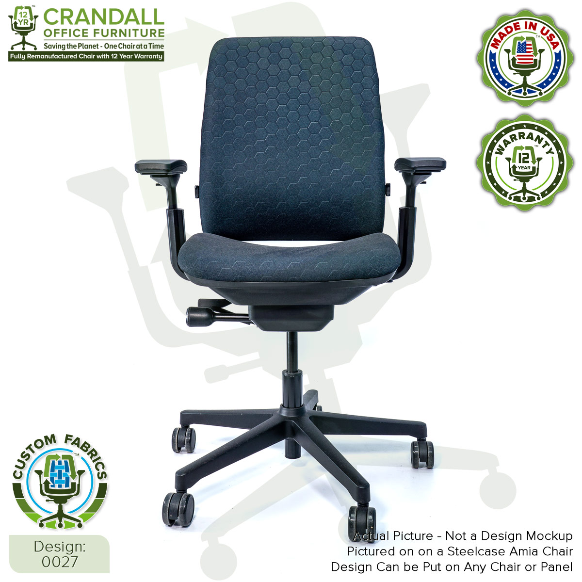 Custom Fabric Remanufactured Steelcase Amia Chair - Design 0027