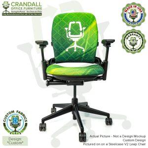 Custom Fabric Remanufactured Steelcase V2 Leap Chair - Custom Fabric Design