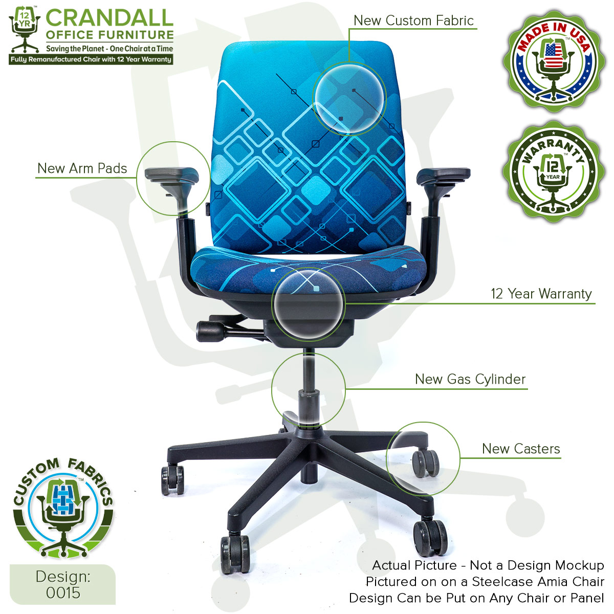 Custom Fabric Remanufactured Steelcase Amia Chair - Design 0015 with Labels