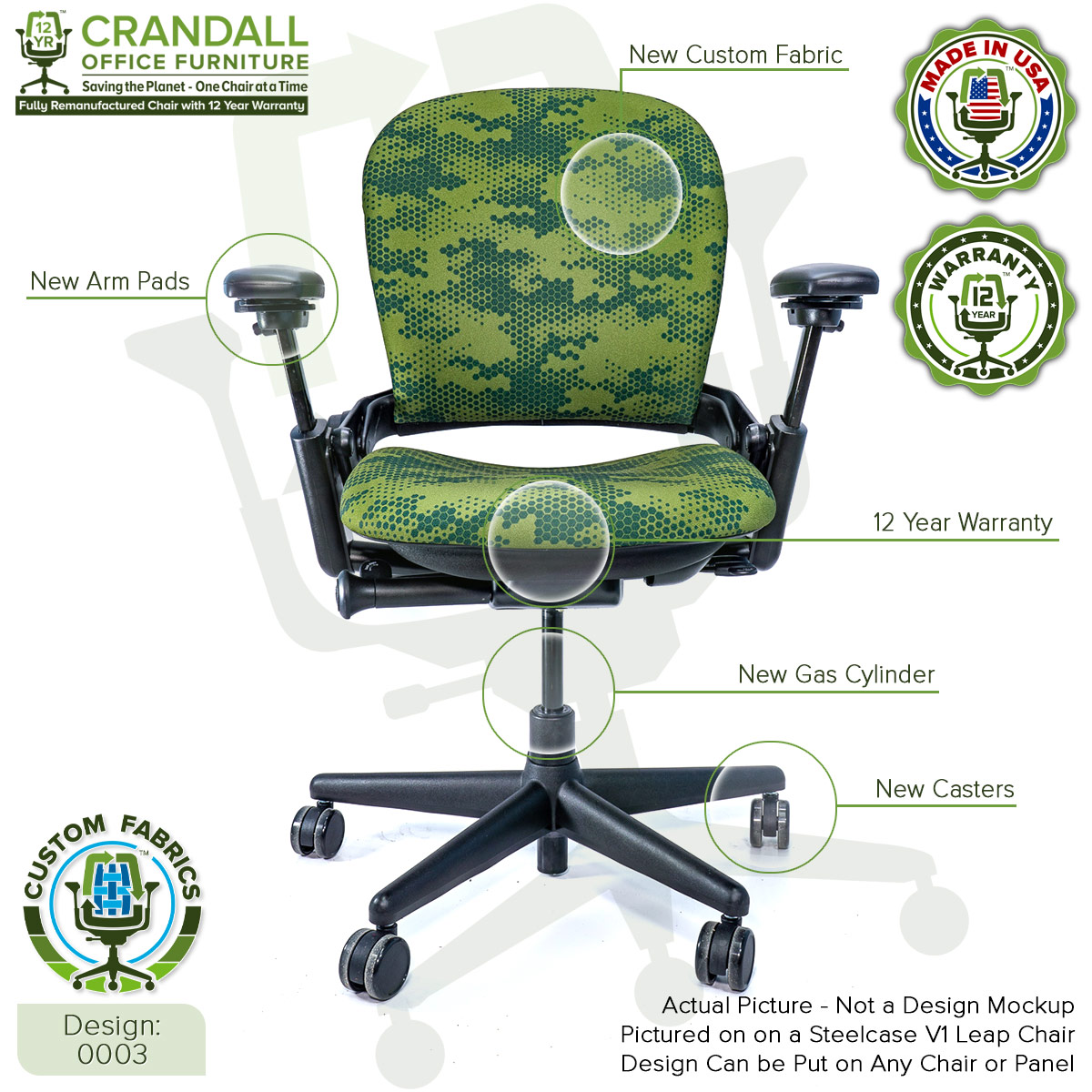 Custom Fabric Remanufactured Steelcase V1 Leap Chair - Design 0003 with Labels