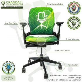 Custom Fabric Remanufactured Steelcase V2 Leap Chair - Custom Design with Labels