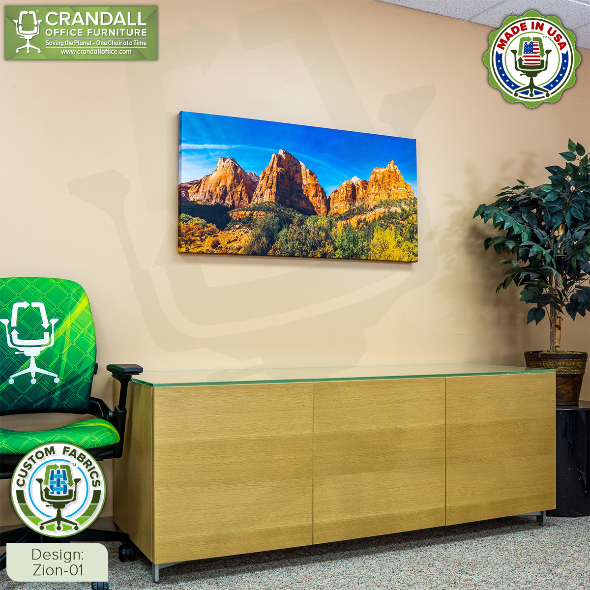 Crandall Office Custom Fabric Art Acoustic Sound Panels - Zion 01