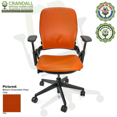 Remanufactured Steelcase V2 Leap - Bleach Cleanable Vinyl - Clay