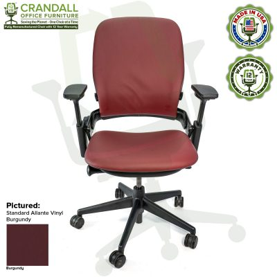 Remanufactured Steelcase V2 Leap - Allante Vinyl - Burgundy