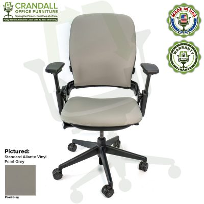 Remanufactured Steelcase V2 Leap - Allante Vinyl - Pearl Grey