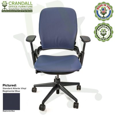 Remanufactured Steelcase V2 Leap - Allante Vinyl - Regimental Blue
