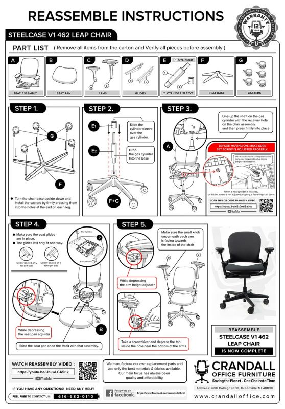 Crandall Office Furntiure Remanufactured Steelcase V1 Leap Assembly Instructions