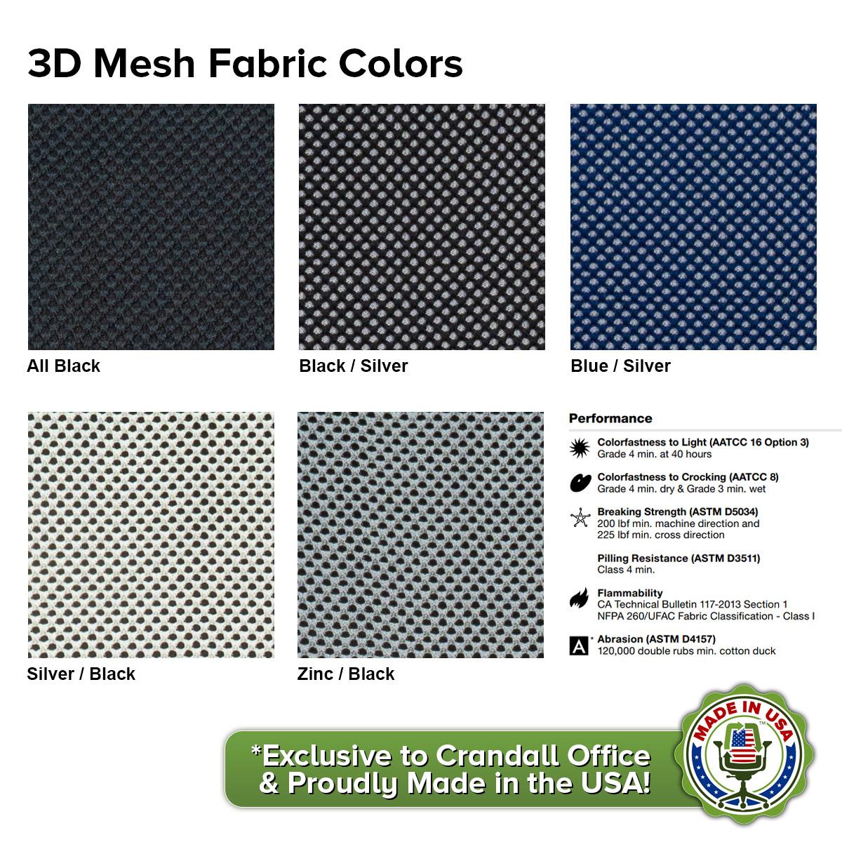 Crandall Office 3D Mesh Fabric Colors