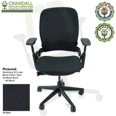 Crandall Office Remanufactured Steelcase V2 Leap - 3D Mesh - All Black