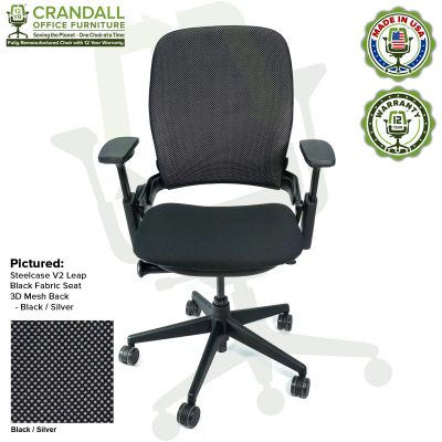 Crandall Office Remanufactured Steelcase V2 Leap - 3D Mesh - Black / Silver