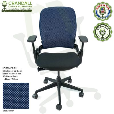 Crandall Office Remanufactured Steelcase V2 Leap - 3D Mesh - Blue / Silver