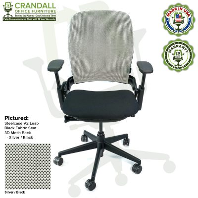 Crandall Office Remanufactured Steelcase V2 Leap - 3D Mesh - Silver / Black