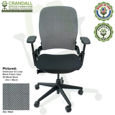 Crandall Office Remanufactured Steelcase V2 Leap - 3D Mesh - Zinc / Black