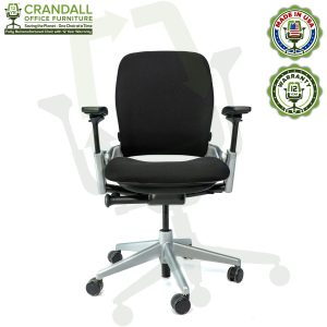 Crandall Office Furniture Remanufactured Steelcase V2 Leap Chair - Platinum Frame 01