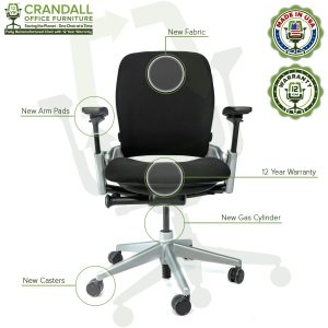 Crandall Office Furniture Remanufactured Steelcase V2 Leap Chair - Platinum Frame 02