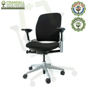 Crandall Office Furniture Remanufactured Steelcase V2 Leap Chair - Platinum Frame 03