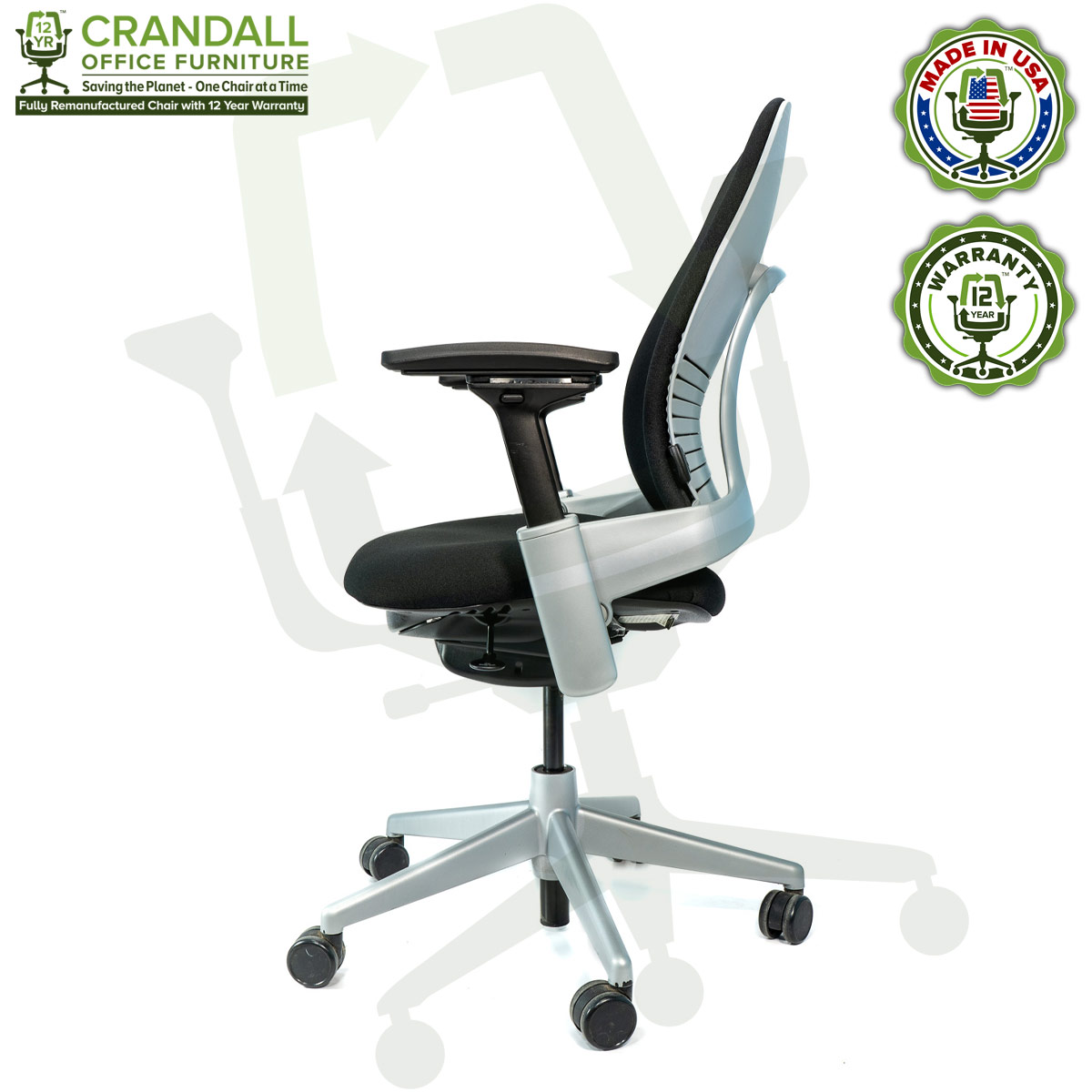 Crandall Office Furniture Remanufactured Steelcase V2 Leap Chair - Platinum Frame 05