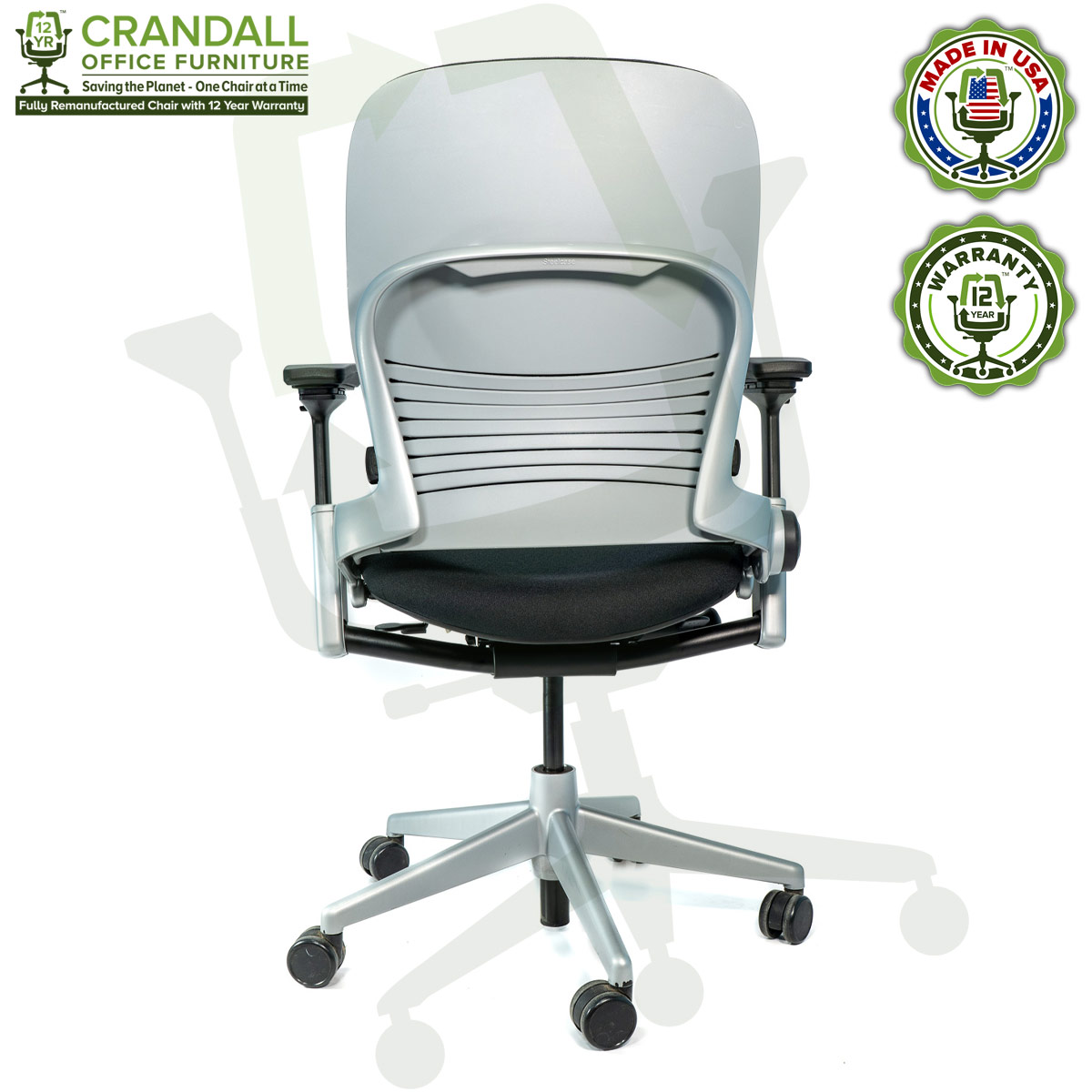 Crandall Office Furniture Remanufactured Steelcase V2 Leap Chair - Platinum Frame 07